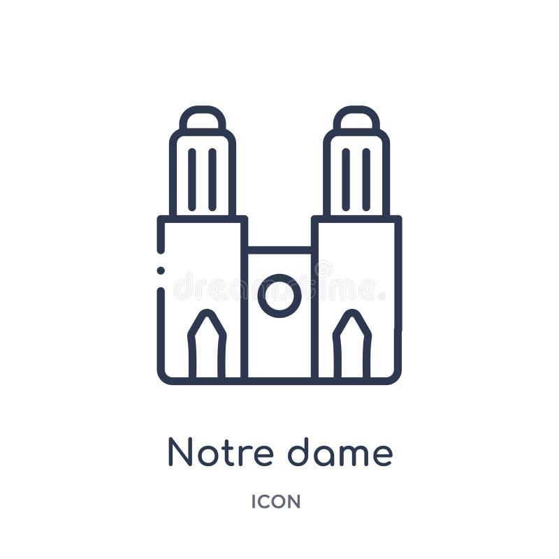 Icono linear de Notre Dame de la colección del esquema de los edificios Línea fina vector de Notre Dame aislado en el fondo blanc libre illustration