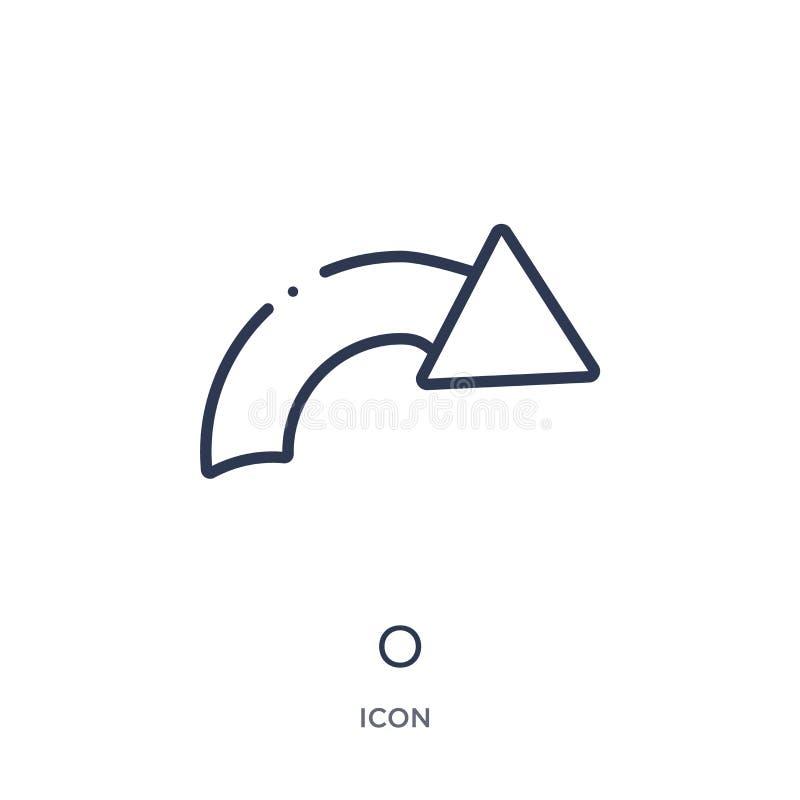 Icono linear de o de la colección del esquema de la geometría Línea fina icono de o aislado en el fondo blanco ejemplo de moda de stock de ilustración