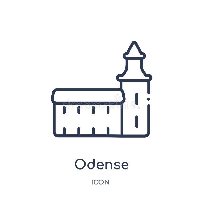 Icono linear de Odense de la colección del esquema de los edificios Línea fina vector de Odense aislado en el fondo blanco Odense libre illustration