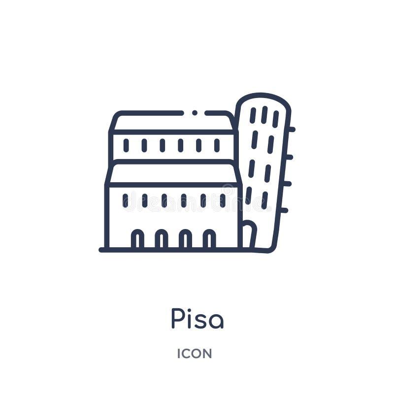 Icono linear de Pisa de la arquitectura y de la colección del esquema del viaje Línea fina vector de Pisa aislado en el fondo bla libre illustration