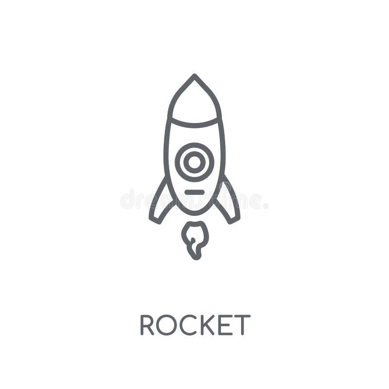 Icono linear de Rocket Concepto moderno del logotipo de Rocket del esquema en blanco stock de ilustración
