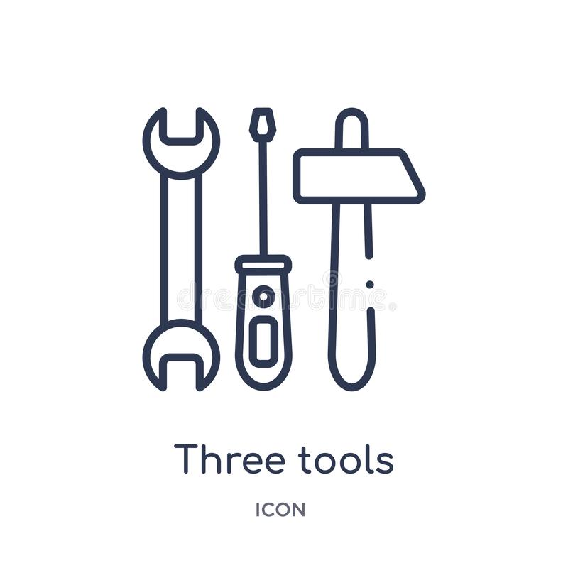 Icono linear de tres herramientas de la colección del esquema de la construcción Línea fina tres vector de las herramientas aisla stock de ilustración