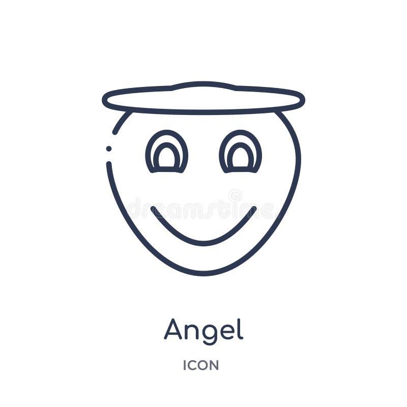 Icono linear del ángel de la colección del esquema de las emociones Línea fina vector del ángel aislado en el fondo blanco ejempl libre illustration