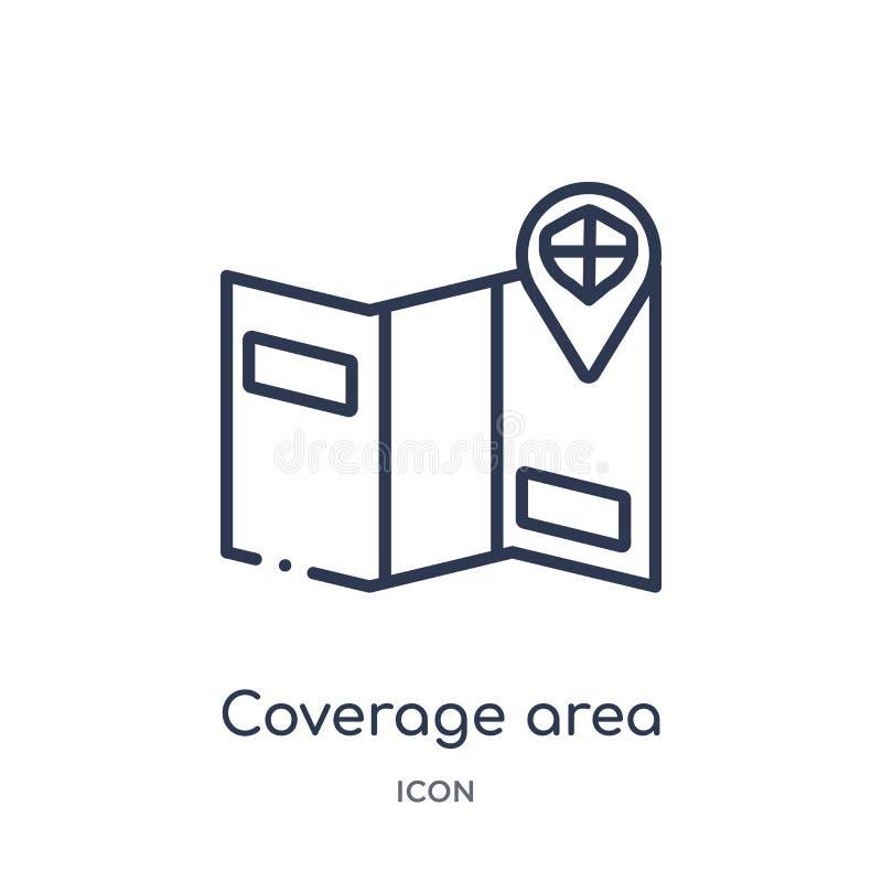 Icono linear del área de la cobertura de la colección del esquema del seguro Línea fina icono del área de la cobertura aislado en ilustración del vector