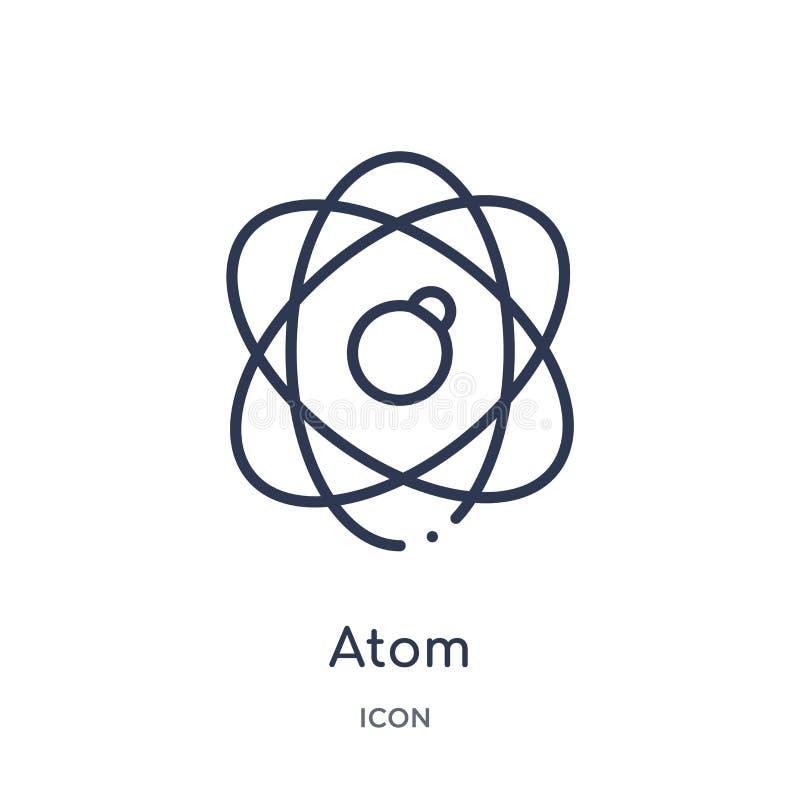Icono linear del átomo de la colección del esquema de la educación Línea fina vector del átomo aislado en el fondo blanco ejemplo ilustración del vector