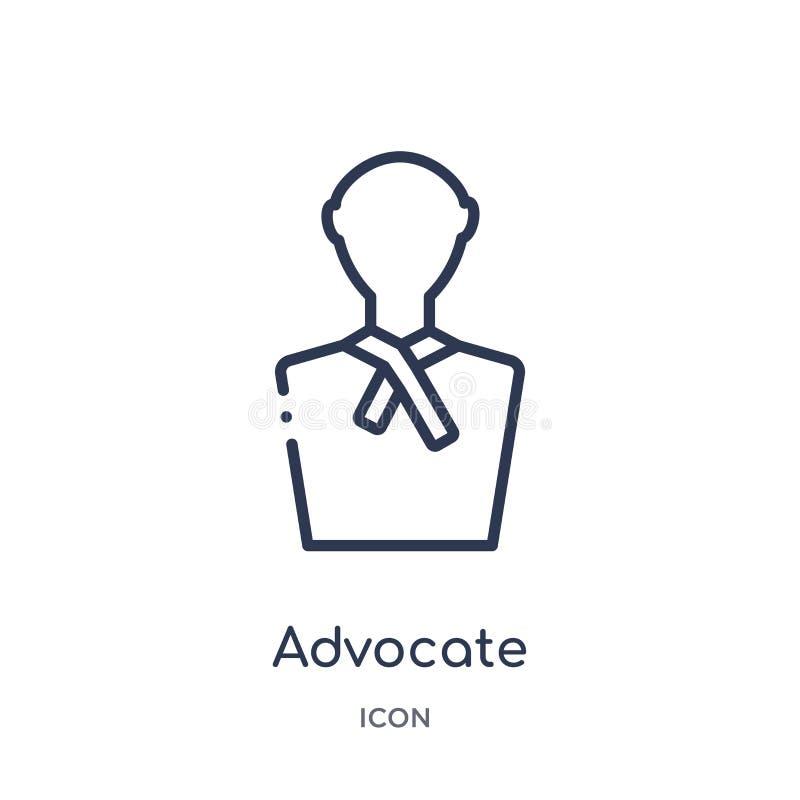 Icono linear del abogado de la colección del esquema de la ley y de la justicia Línea fina icono del abogado aislado en el fondo  libre illustration