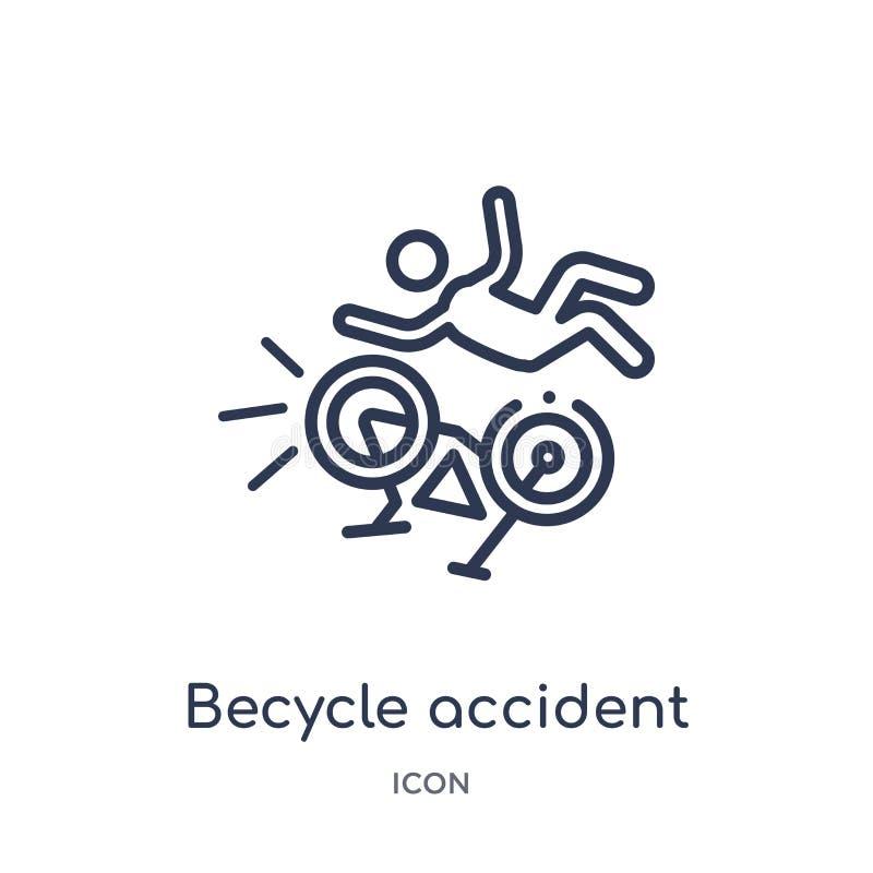 Icono linear del accidente del becycle de la colección del esquema del seguro Línea fina icono del accidente del becycle aislado  stock de ilustración