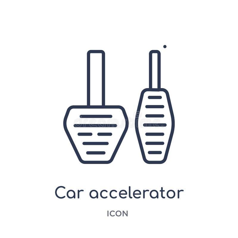 Icono linear del acelerador del coche de la colección del esquema de las piezas del coche Línea fina vector del acelerador del co libre illustration