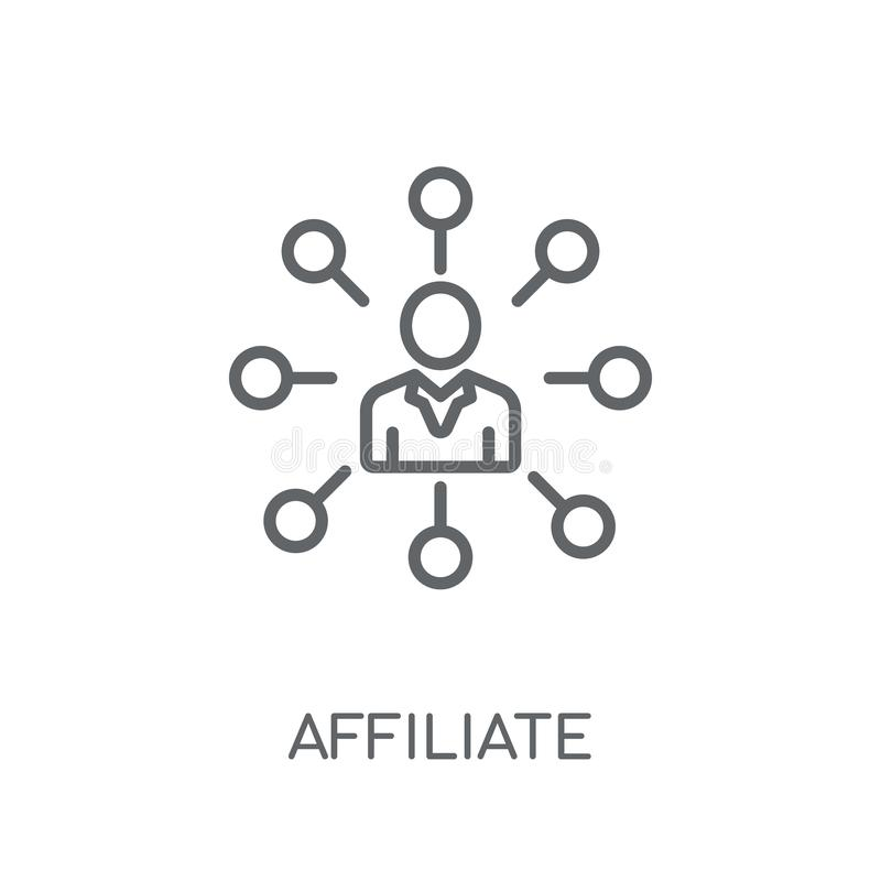 Icono linear del afiliado Concepto moderno del logotipo del afiliado del esquema encendido libre illustration