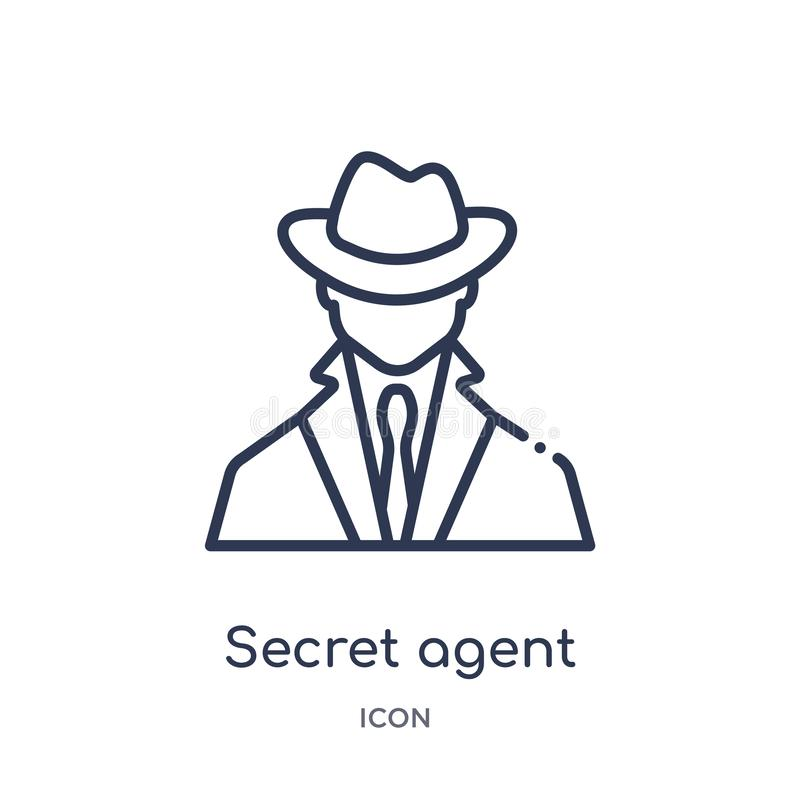Icono linear del agente secreto de la colección del esquema del ejército y de la guerra Línea fina vector del agente secreto aisl libre illustration