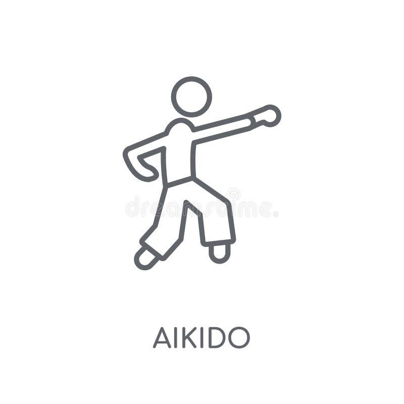 icono linear del aikido Concepto moderno del logotipo del aikido del esquema en blanco libre illustration