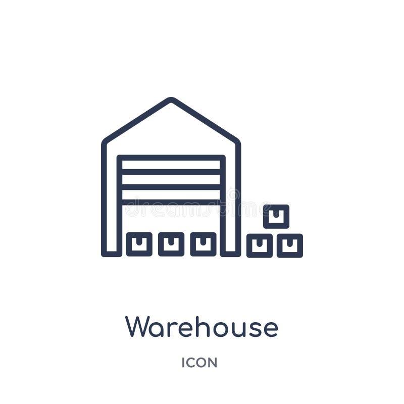 Icono linear del almacén de la entrega y de la colección logística del esquema Línea fina vector del almacén aislado en el fondo  libre illustration
