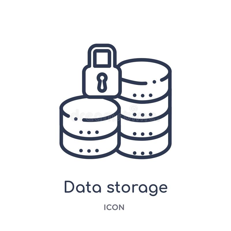 Icono linear del almacenamiento de datos de la colección del esquema de Gdpr Línea fina icono del almacenamiento de datos aislado stock de ilustración