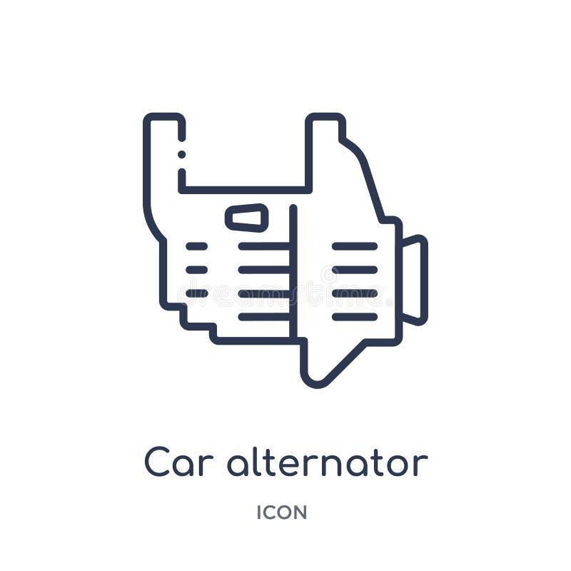Icono linear del alternador del coche de la colección del esquema de las piezas del coche Línea fina vector del alternador del co libre illustration