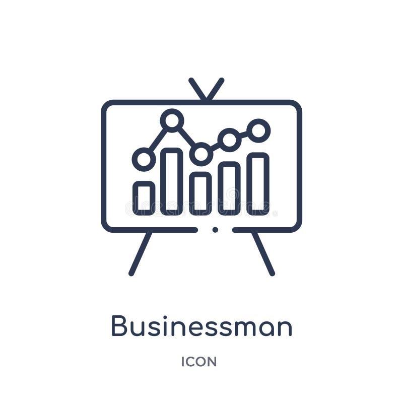 Icono linear del análisis del hombre de negocios de la colección del esquema del negocio y del analytics Línea fina vector del an libre illustration