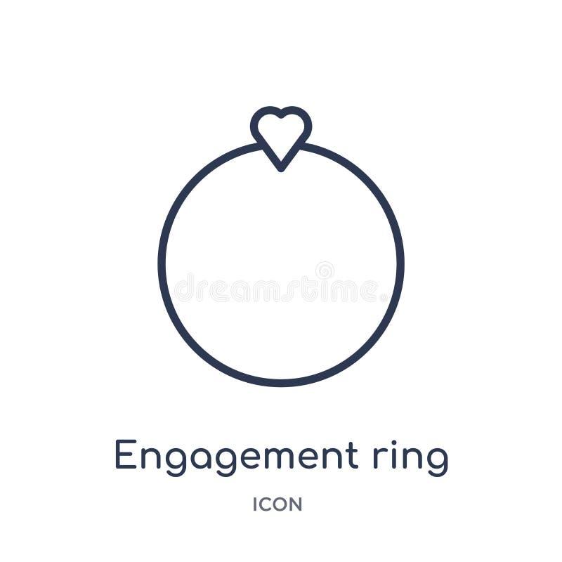 Icono linear del anillo de compromiso de la colección del esquema de la fiesta de cumpleaños Línea fina vector del anillo de comp stock de ilustración