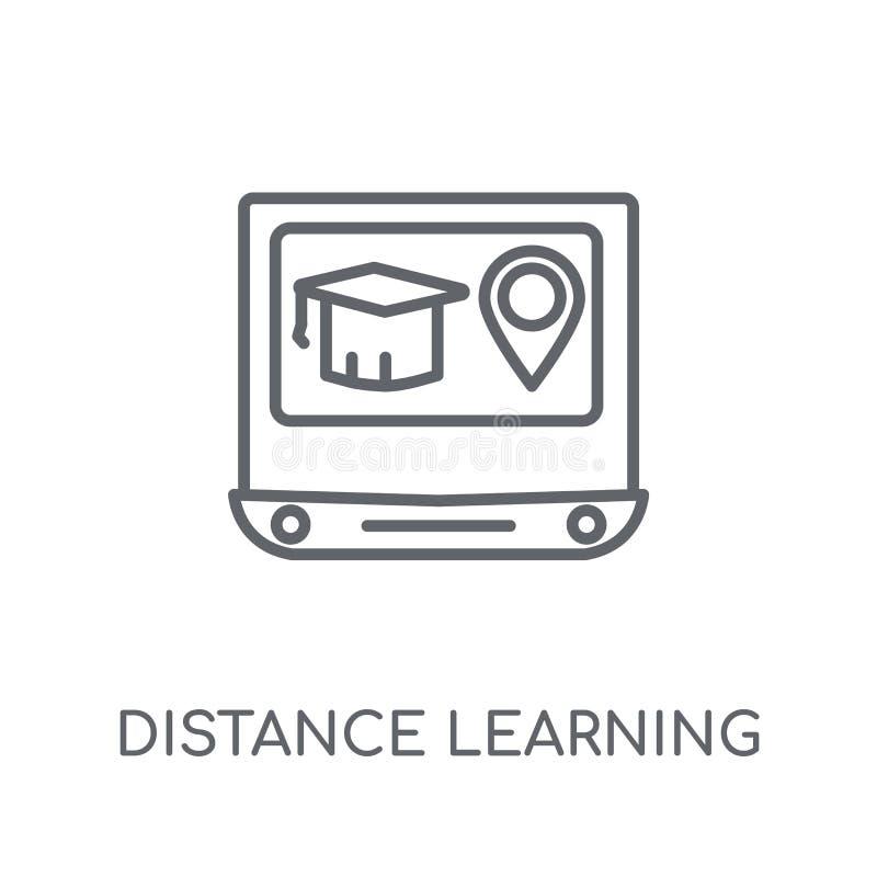icono linear del aprendizaje a distancia Aprendizaje a distancia moderno del esquema ilustración del vector