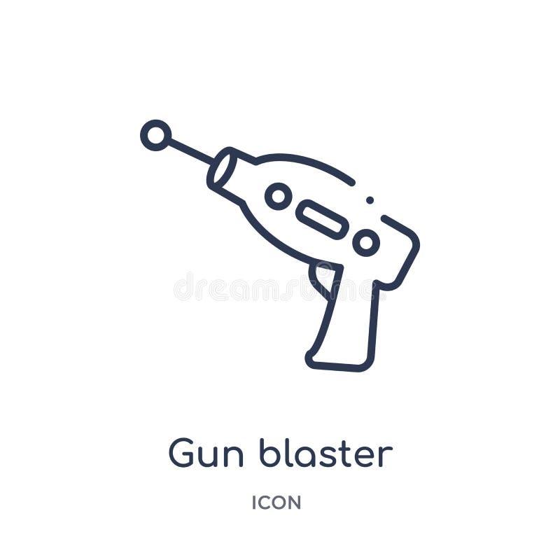 Icono linear del arenador del arma de la colección del esquema de la astronomía Línea fina vector del arenador del arma aislado e stock de ilustración