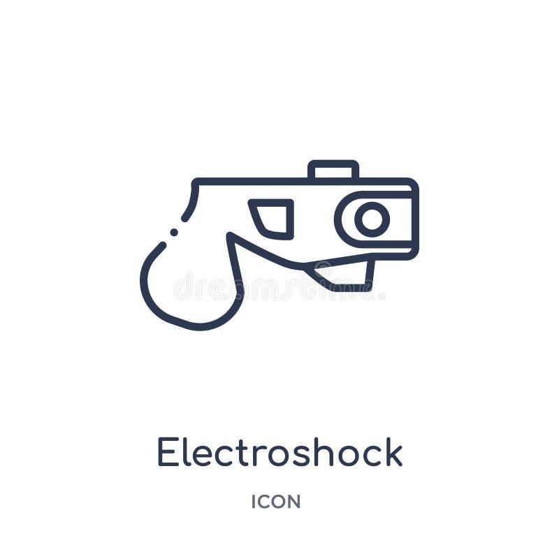 Icono linear del arma del electroshock de la colección del esquema de la ley y de la justicia Línea fina icono del arma del elect stock de ilustración