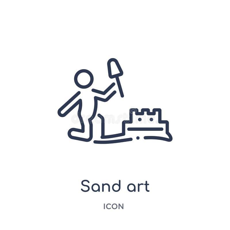 Icono linear del arte de la arena de la actividad y de la colección del esquema de las aficiones Línea fina vector del arte de la libre illustration