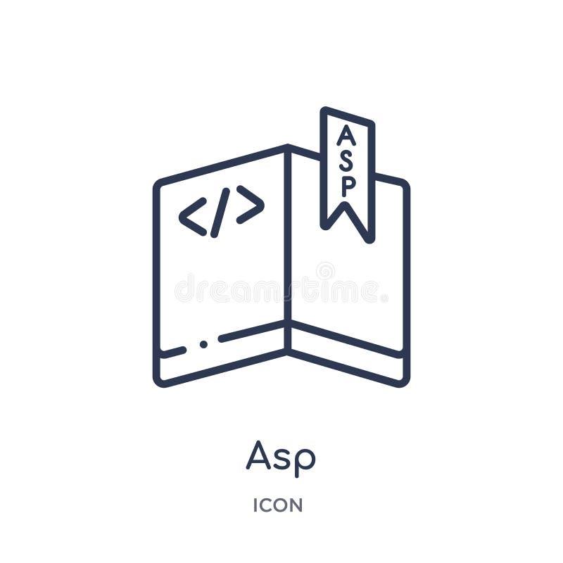 Icono linear del ASP de la colección del esquema del tipo de archivo Línea fina vector del ASP aislado en el fondo blanco ejemplo stock de ilustración