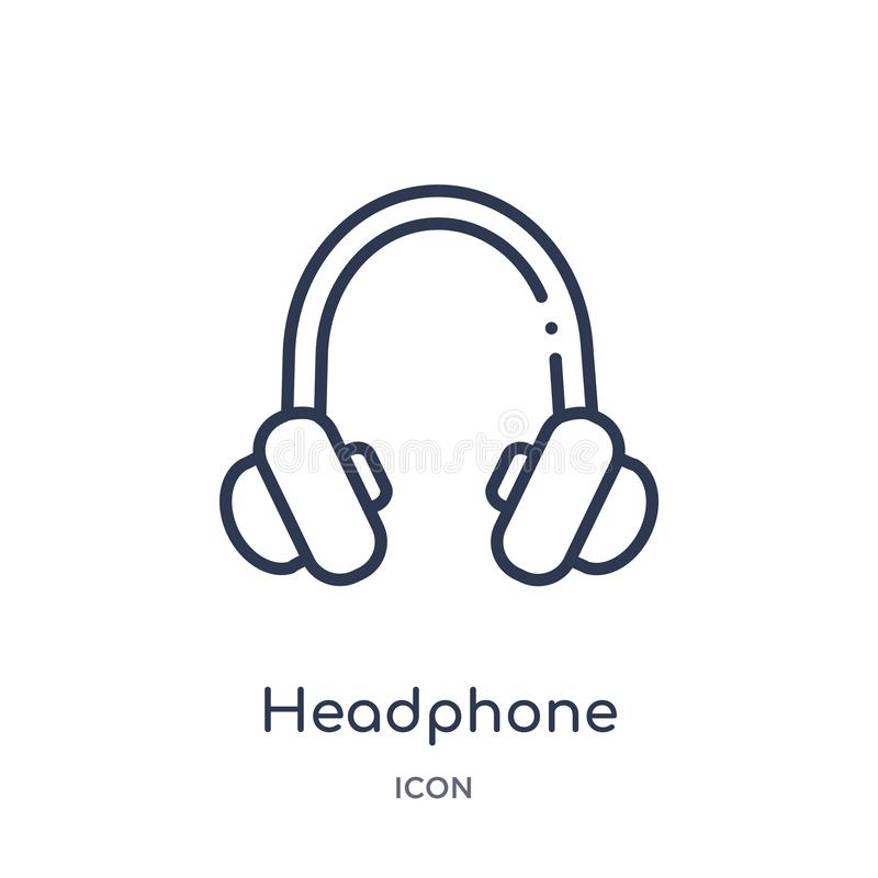 Icono linear del auricular de la colección del esquema del cine Línea fina vector del auricular aislado en el fondo blanco auricu libre illustration