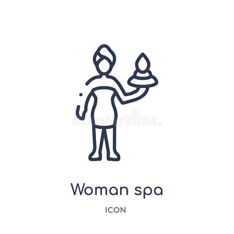 Icono linear del balneario de la mujer de la colección del esquema de las señoras Línea fina icono del balneario de la mujer aisl ilustración del vector