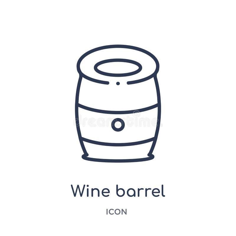 Icono linear del barril de vino de la colección del esquema del alcohol Línea fina vector del barril de vino aislado en el fondo  libre illustration