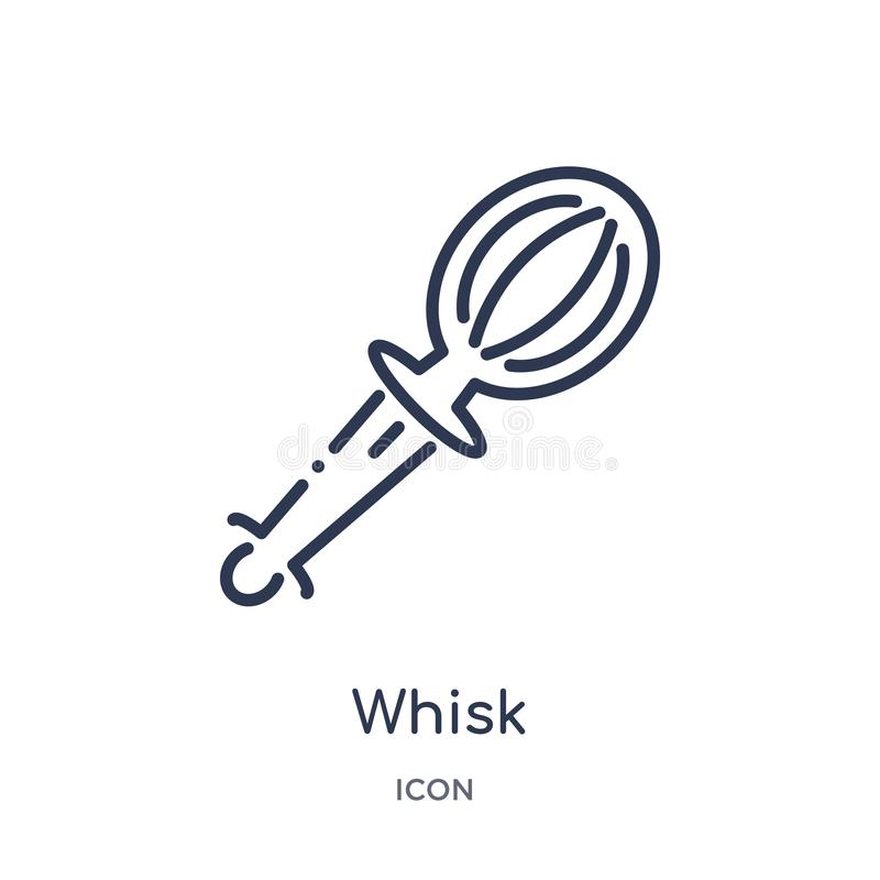 Icono linear del batidor de la colección del esquema de la gastronomía Línea fina icono del batidor aislado en el fondo blanco ej ilustración del vector
