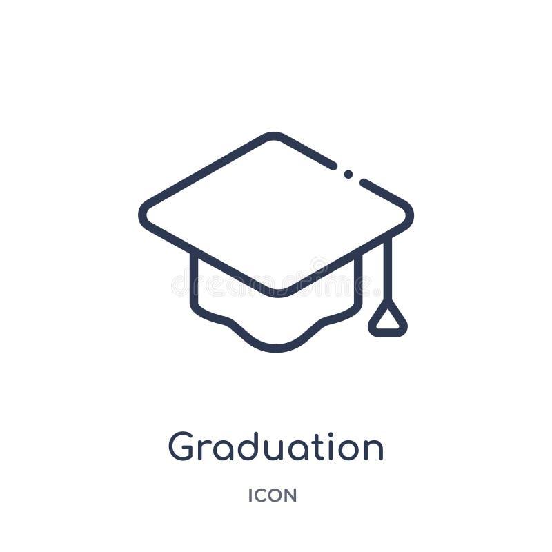 Icono linear del birrete de la graduación de la colección del esquema de la educación Línea fina icono del birrete de la graduaci libre illustration