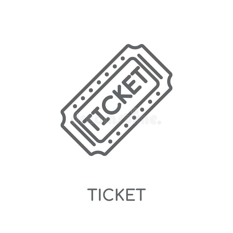 Icono linear del boleto Concepto moderno del logotipo del boleto del esquema en blanco ilustración del vector