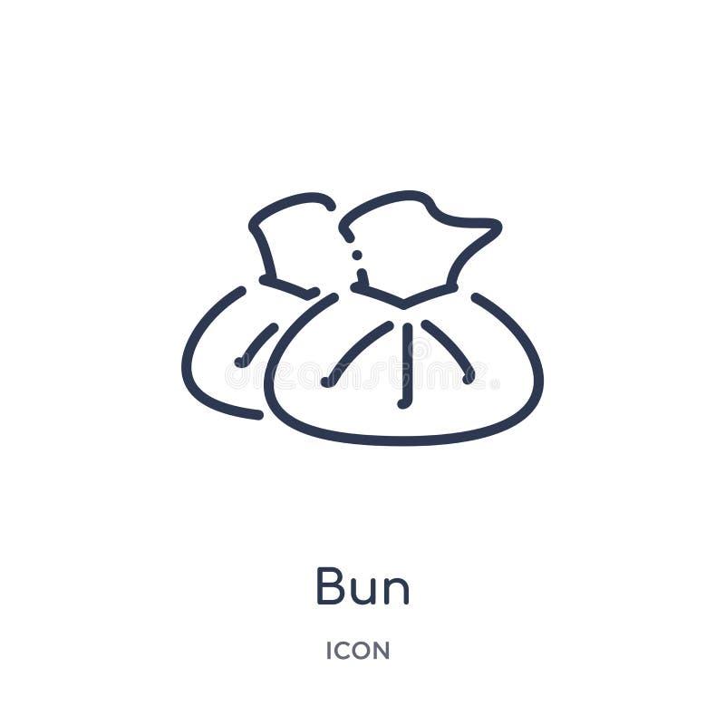 Icono linear del bollo de la colección del esquema de la gastronomía Línea fina icono del bollo aislado en el fondo blanco ejempl libre illustration