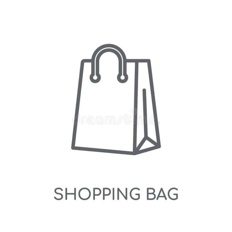 Icono linear del bolso de compras Conce moderno del logotipo del bolso de compras del esquema ilustración del vector