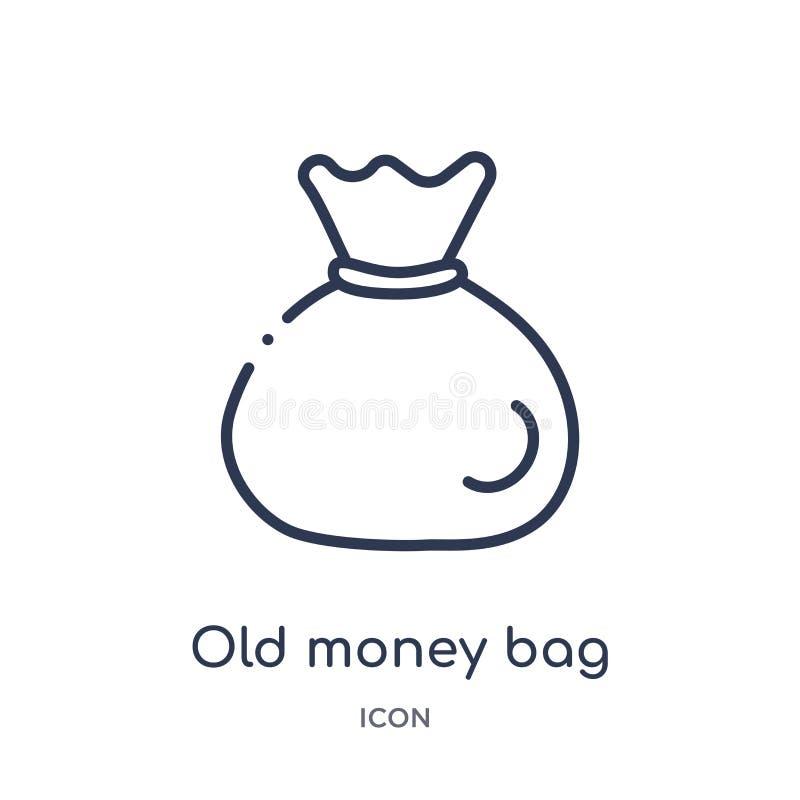 Icono linear del bolso del dinero viejo de la colección del esquema del desierto Línea fina vector del bolso del dinero viejo ais libre illustration