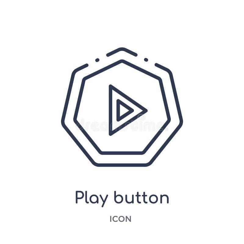 Icono linear del botón de reproducción de la colección del esquema de las flechas Línea fina vector del botón de reproducción ais stock de ilustración