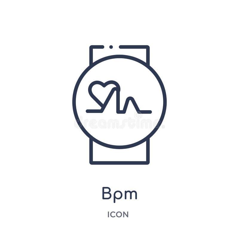 Icono linear del bpm de la colección del esquema general Línea fina icono del bpm aislado en el fondo blanco ejemplo de moda del  ilustración del vector