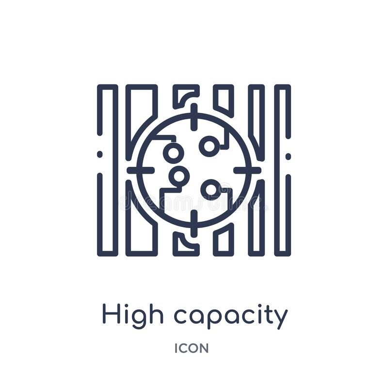 Icono linear del código de barras del color de la alta capacidad del intellegence artificial y de la colección futura del esquema stock de ilustración