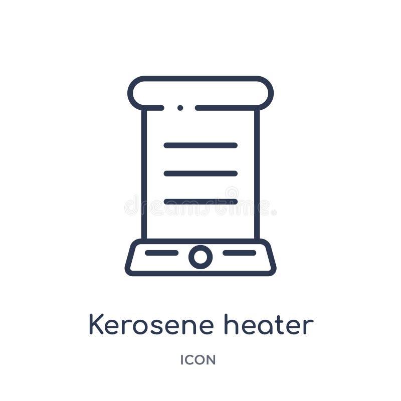 Icono linear del calentador de keroseno de la colección del esquema de los dispositivos electrónicos Línea fina vector del calent stock de ilustración