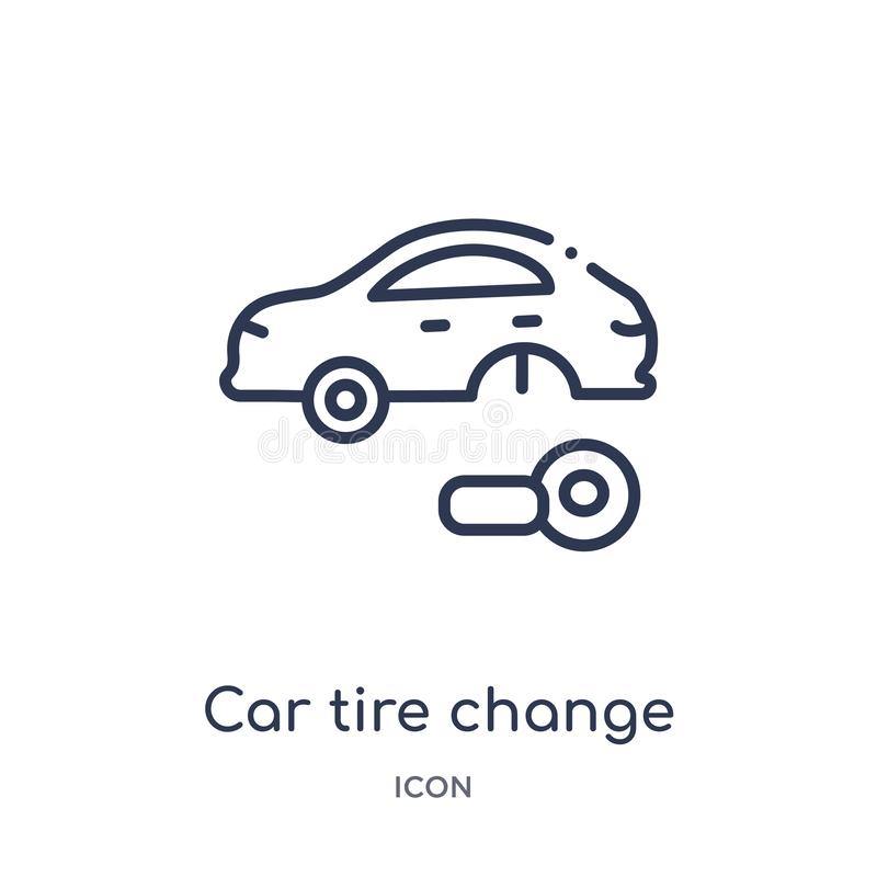 Icono linear del cambio del neumático de coche de la colección del esquema de Mechanicons Línea fina icono del cambio del neumáti libre illustration