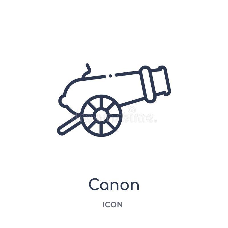Icono linear del canon de la colección del esquema del ejército y de la guerra Línea fina vector del canon aislado en el fondo bl libre illustration