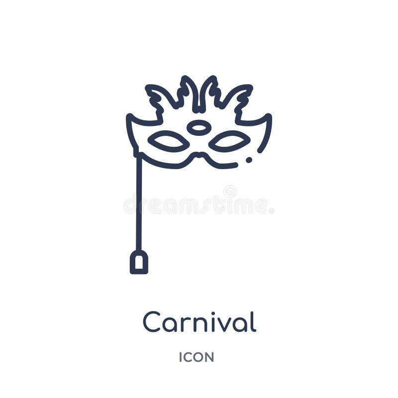 Icono linear del carnaval de la colección del esquema del circo Línea fina vector del carnaval aislado en el fondo blanco carnava libre illustration