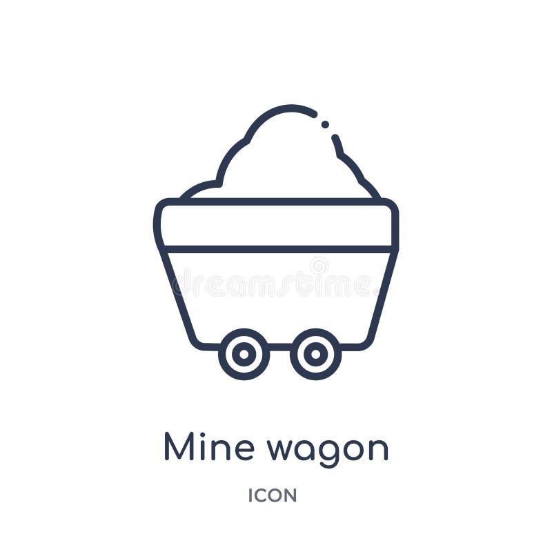 Icono linear del carro de la mina de la colección del esquema del desierto Línea fina vector del carro de la mina aislado en el f libre illustration