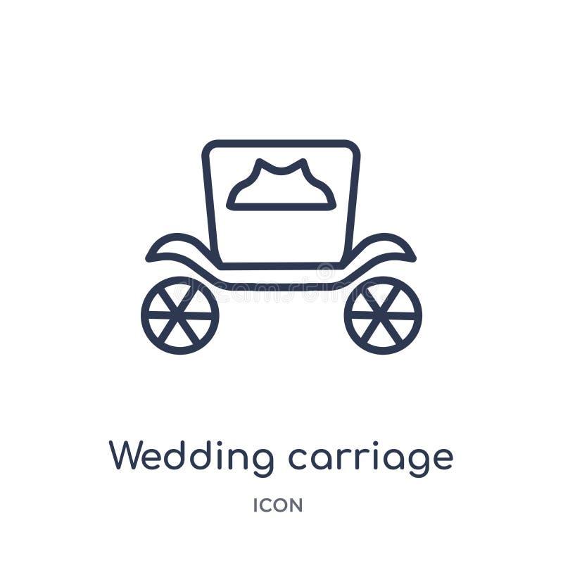 Icono linear del carro que se casa de la colección del esquema de la fiesta de cumpleaños Línea fina vector del carro de la boda  ilustración del vector