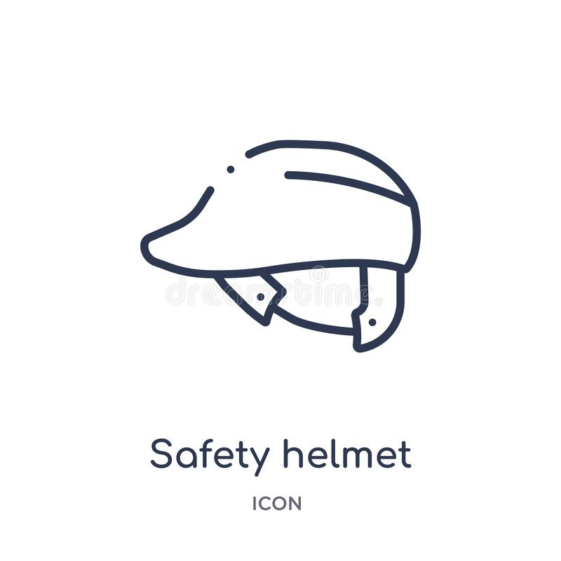 Icono linear del casco de seguridad de la colección del esquema de las herramientas de la construcción Línea fina vector del casc stock de ilustración