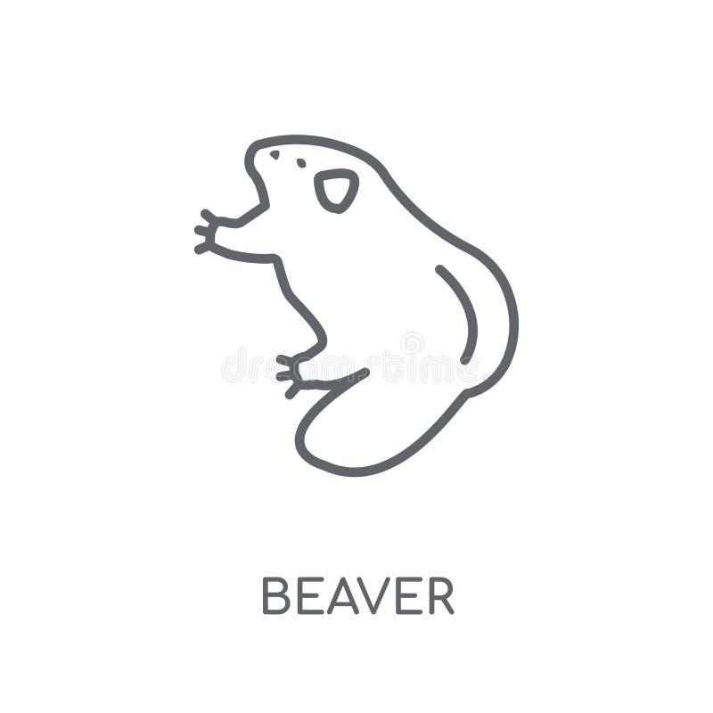 Icono linear del castor Concepto moderno del logotipo del castor del esquema en blanco ilustración del vector