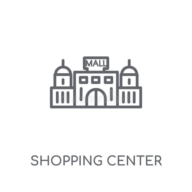Icono linear del centro comercial Logotipo moderno del centro comercial del esquema stock de ilustración
