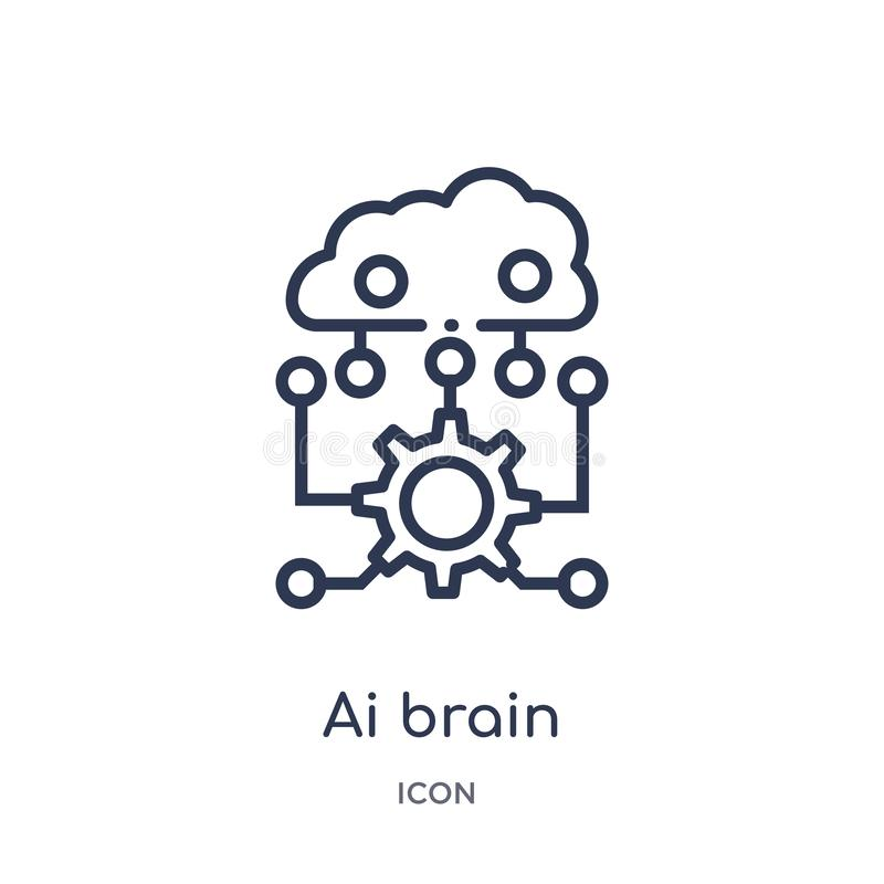 Icono linear del cerebro del ai del intellegence artificial y de la colección futura del esquema de la tecnología Línea fina vect libre illustration