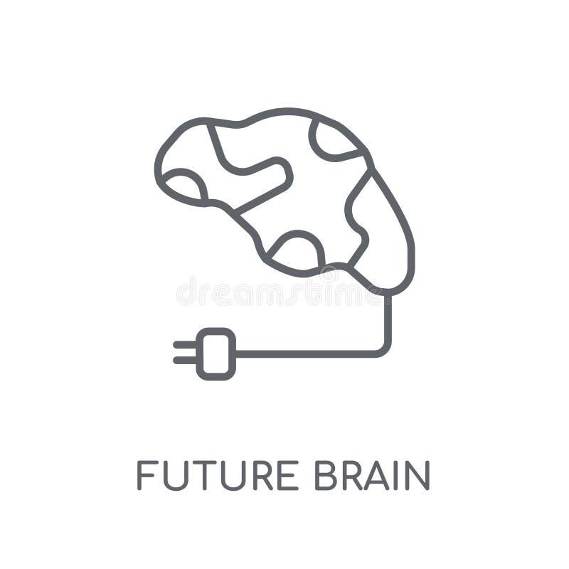 icono linear del cerebro futuro Conce futuro del logotipo del cerebro del esquema moderno ilustración del vector