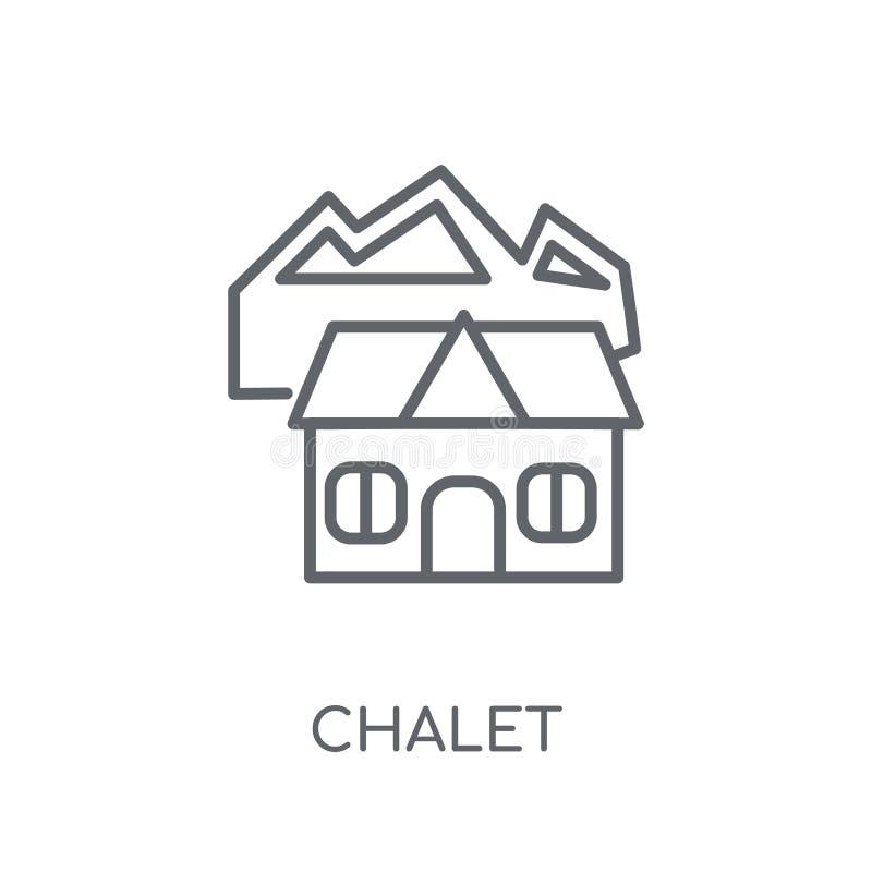 Icono linear del chalet Concepto moderno del logotipo del chalet del esquema en blanco libre illustration