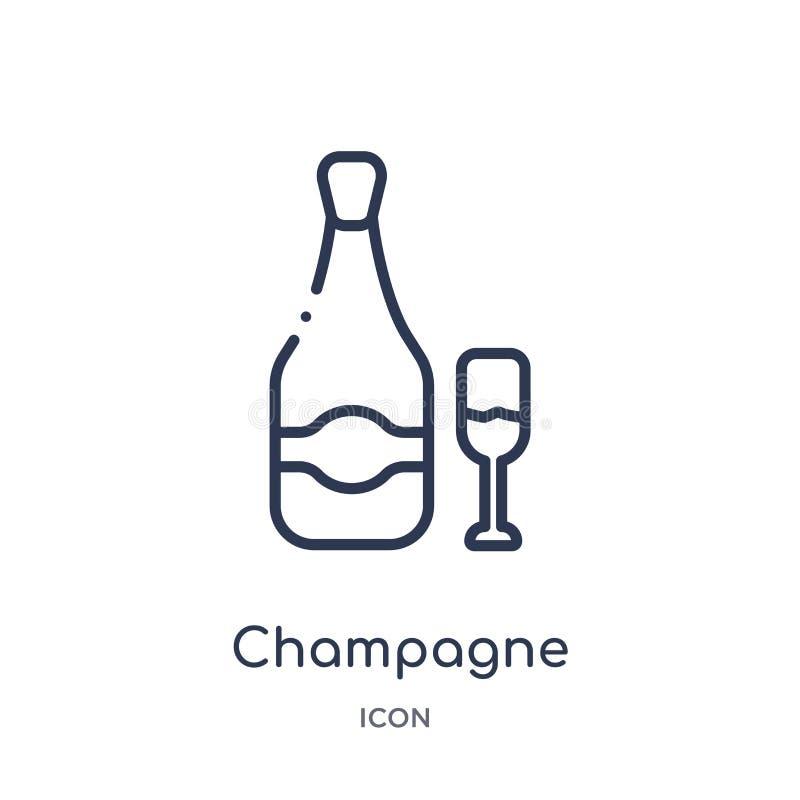 Icono linear del champán de la colección del esquema del hotel Línea fina icono del champán aislado en el fondo blanco champán de libre illustration